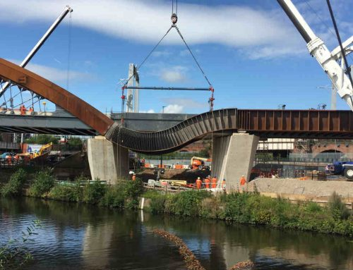 Ordsall Chord nears completion as stunning steel bands are lifted into place