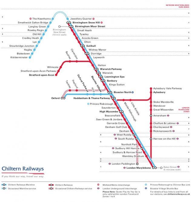 Chiltern Line Map Chiltern Railways   Rail Professional Chiltern Line Map