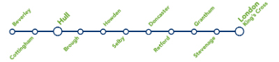 Hull Trains route map