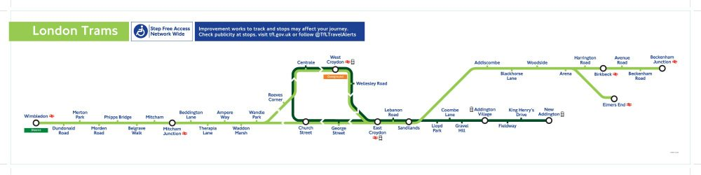 London Trams route map