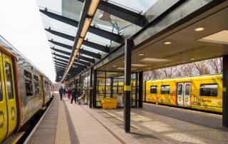 Merseyrail trains at Sandhills stations