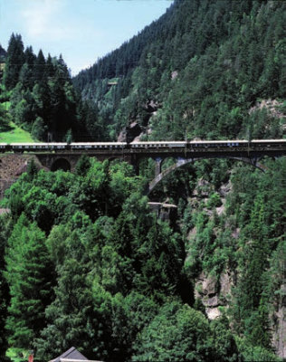 Venice Simplon-Orient-Express travelling through the Alps