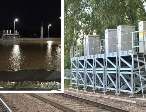 Signalling equipment on stilts helping storm-proof West Coast main line